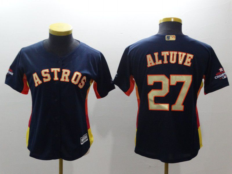 Women Houston Astros 27 Altuve Blue Champion Edition MLB Jerseys