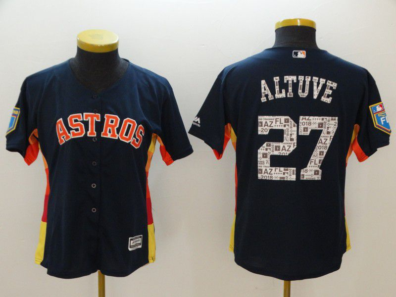 Women Houston Astros 27 Altuve Blue Spring Edition MLB Jerseys