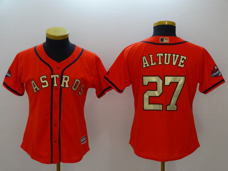 Women Houston Astros 27 Altuve Orange Champion Edition MLB Jerseys