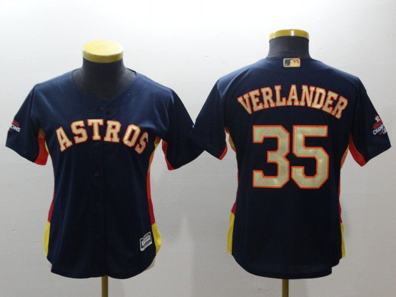 Women Houston Astros 35 Verlander Blue Champion Edition MLB Jerseys