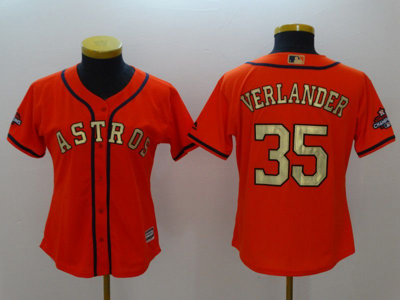 Women Houston Astros 35 Verlander Orange Champion Edition MLB Jerseys