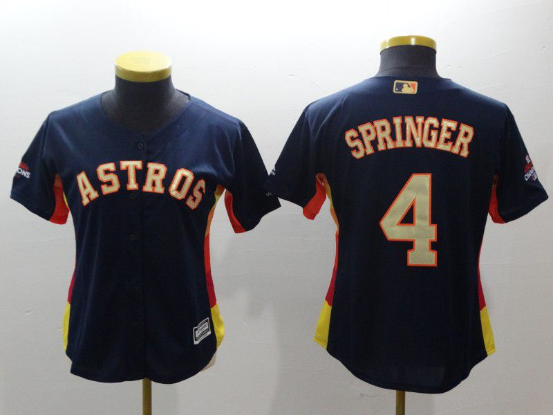 Women Houston Astros 4 Springer Blue Champion Edition MLB Jerseys