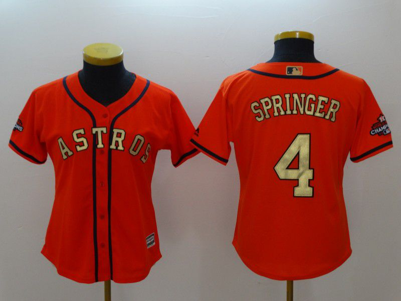 Women Houston Astros 4 Springer Orange Champion Edition MLB Jerseys