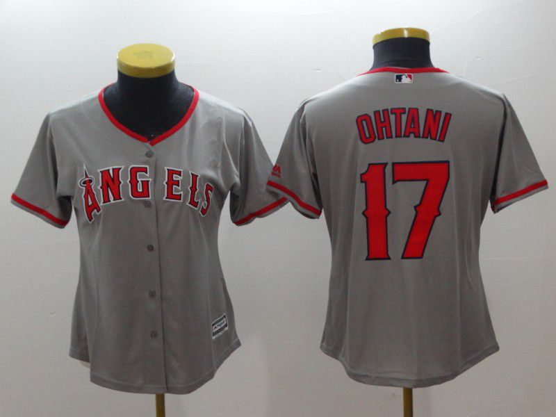 Women Los Angeles Angels 17 Ohtani Grey MLB Jerseys