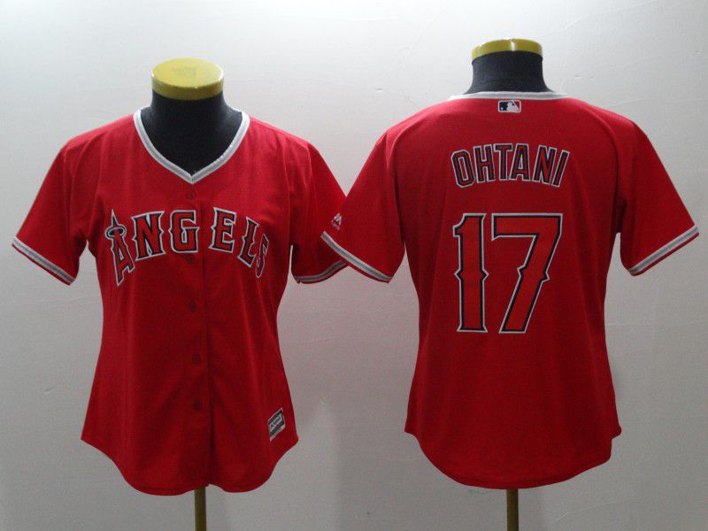 Women Los Angeles Angels 17 Ohtani Red MLB Jerseys