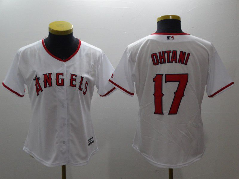 Women Los Angeles Angels 17 Ohtani White MLB Jerseys