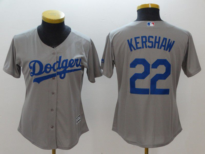 Women Los Angeles Dodgers 22 Kershaw Grey MLB Jerseys