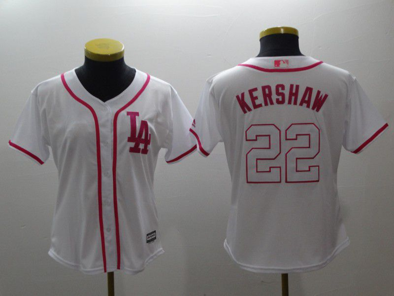 Women Los Angeles Dodgers 22 Kershaw White red MLB Jerseys