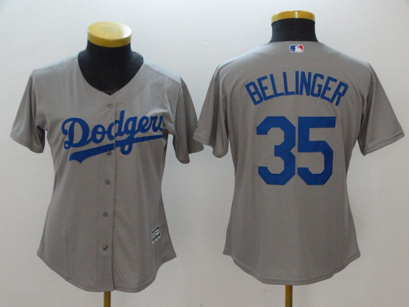 Women Los Angeles Dodgers 35 Bellinger Grey MLB Jerseys