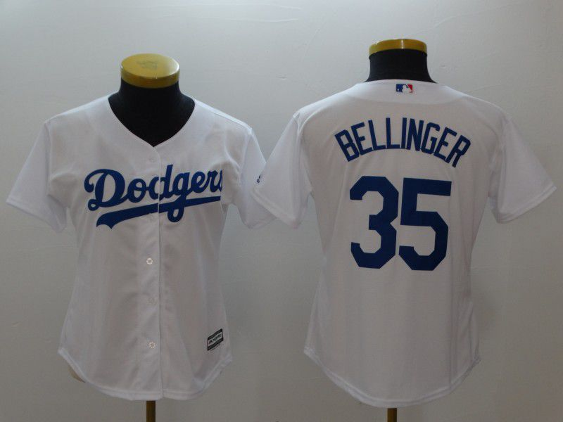 Women Los Angeles Dodgers 35 Bellinger White MLB Jerseys