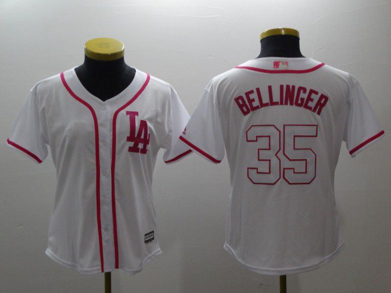 Women Los Angeles Dodgers 35 Bellinger White red MLB Jerseys