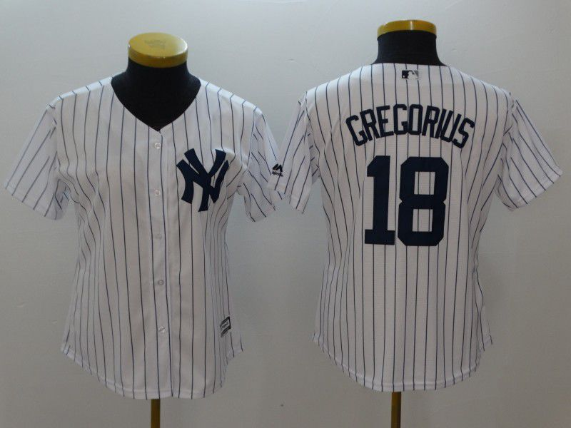 Women New York Yankees 18 Gregorius White stripes MLB Jerseys