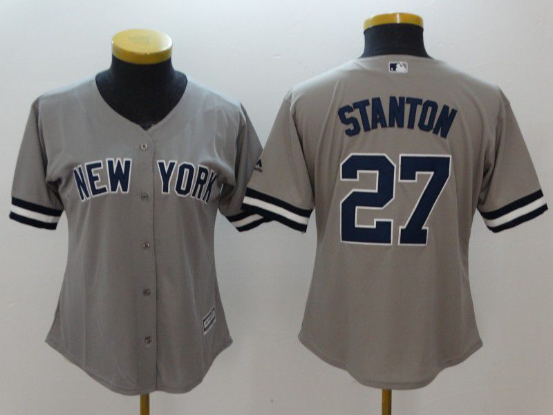 Women New York Yankees 27 Stanton Grey MLB Jerseys