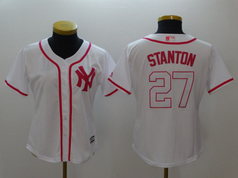 Women New York Yankees 27 Stanton White red MLB Jerseys