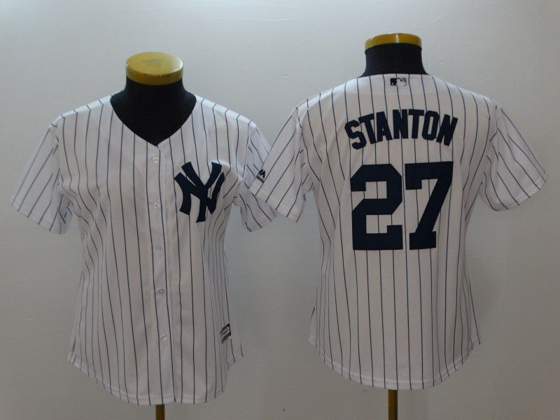 Women New York Yankees 27 Stanton White stripes MLB Jerseys