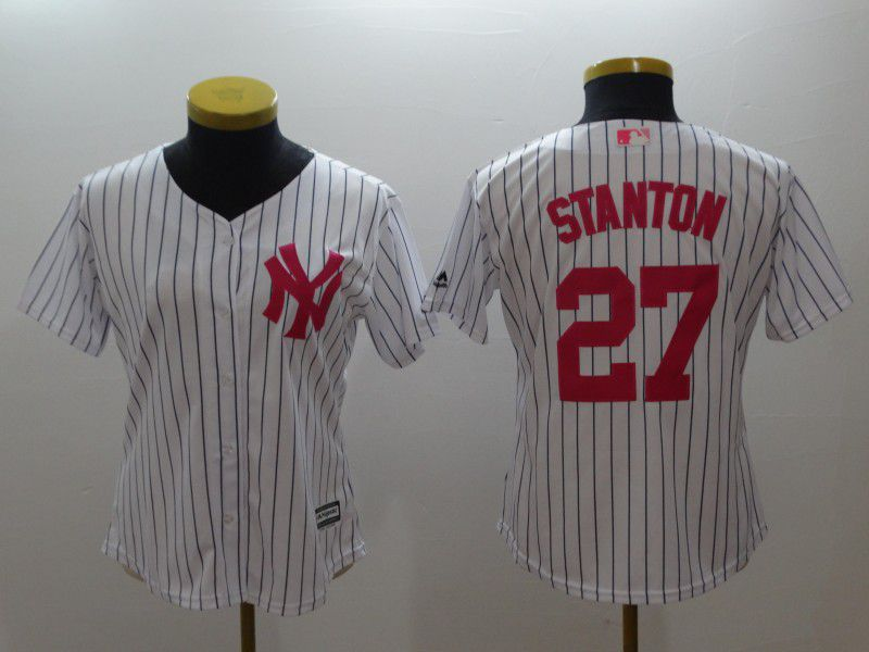 Women New York Yankees 27 Stanton White stripes red MLB Jerseys