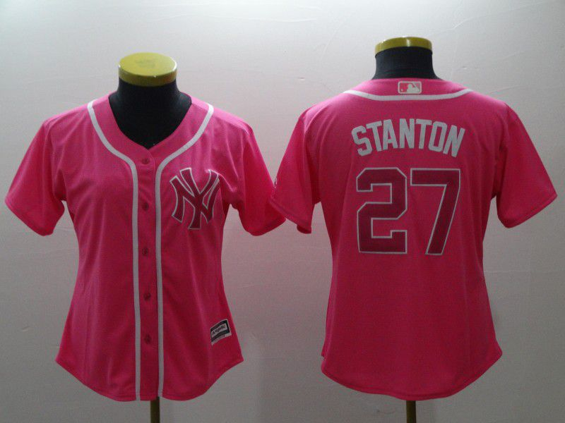 Women New York Yankees 27 Stanton pink MLB Jerseys