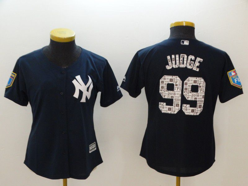 Women New York Yankees 99 Judge Blue Spring Edition MLB Jerseys