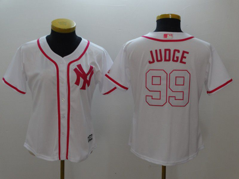 Women New York Yankees 99 Judge White red MLB Jerseys