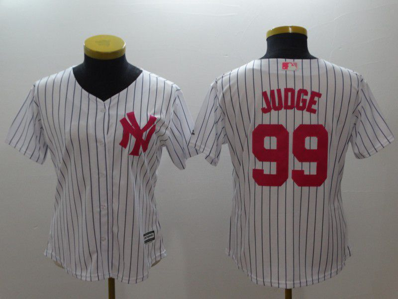 Women New York Yankees 99 Judge White stripes red MLB Jerseys