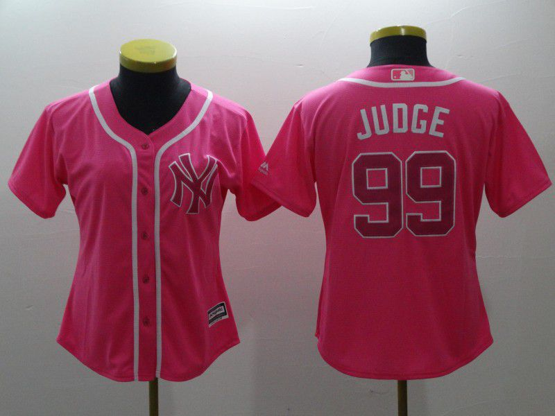 Women New York Yankees 99 Judge pink MLB Jerseys