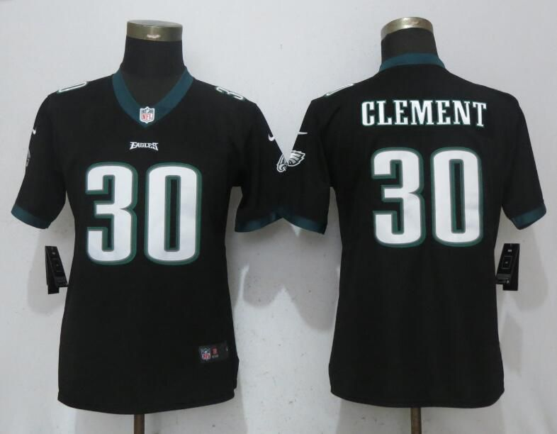 Women Philadelphia Eagles 30 Clement Black Vapor Untouchable Nike Player NFL Jerseys