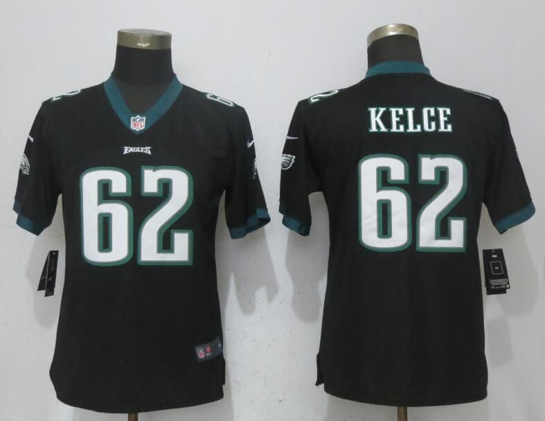 Women Philadelphia Eagles 62 Kelce Black Vapor Untouchable Nike Player NFL Jerseys