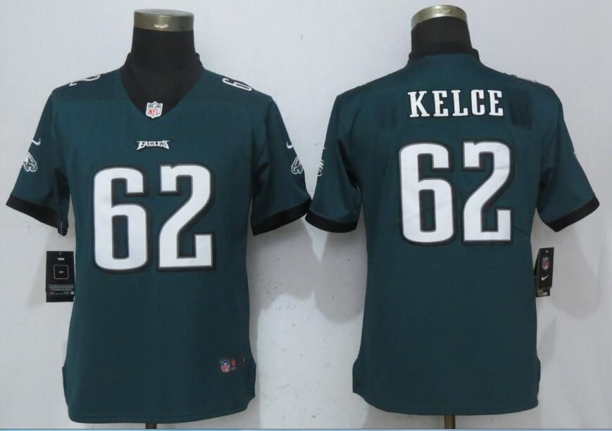 Women Philadelphia Eagles 62 Kelce Green Vapor Untouchable Nike Player NFL Jerseys