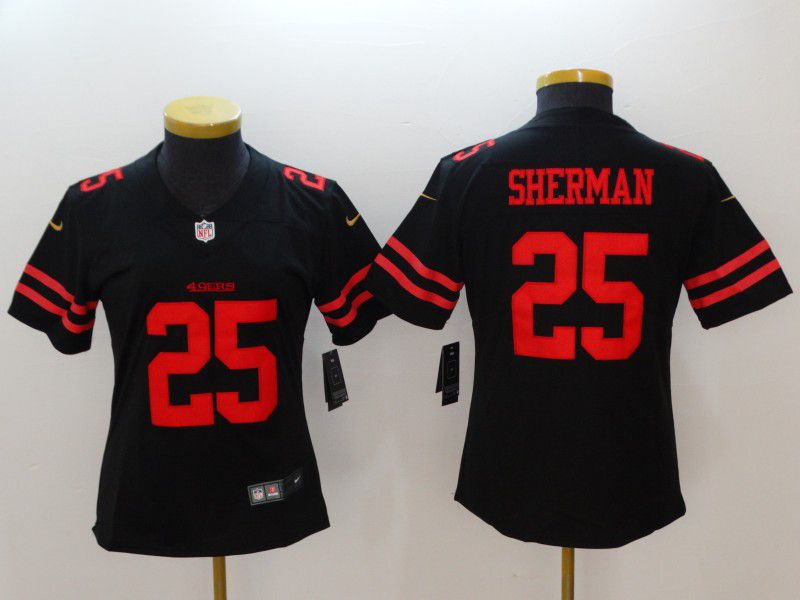 Women San Francisco 49ers 25 Sherman Black New Nike NFL Jerseys
