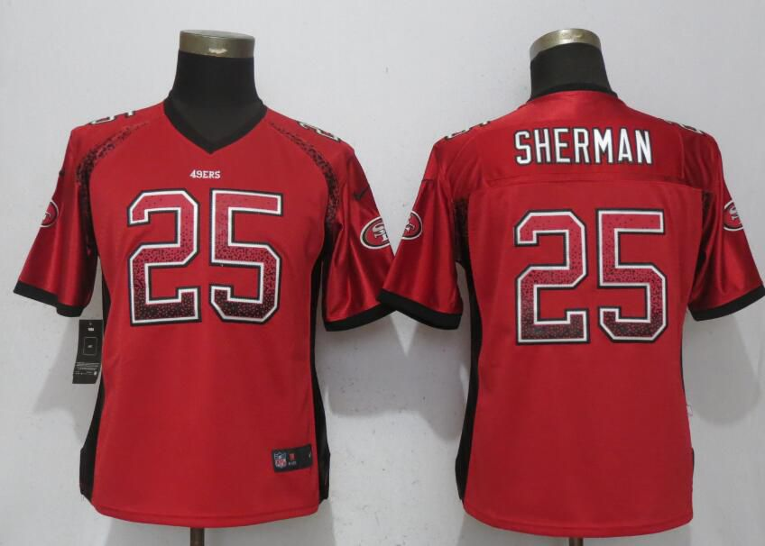 Women San Francisco 49ers 25 Sherman Drift Fashion Red Elite New Nike NFL Jerseys