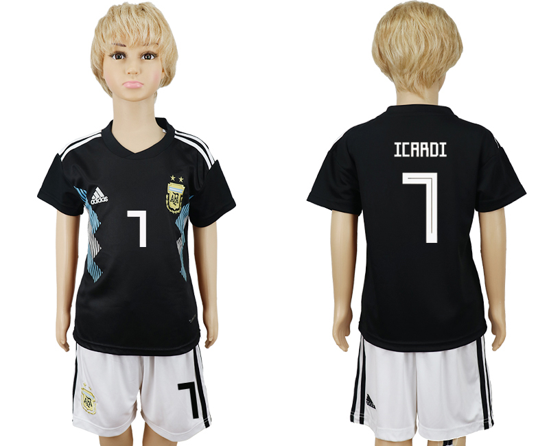 Youth 2018 world cup Argentina away 7 black soccer jerseys