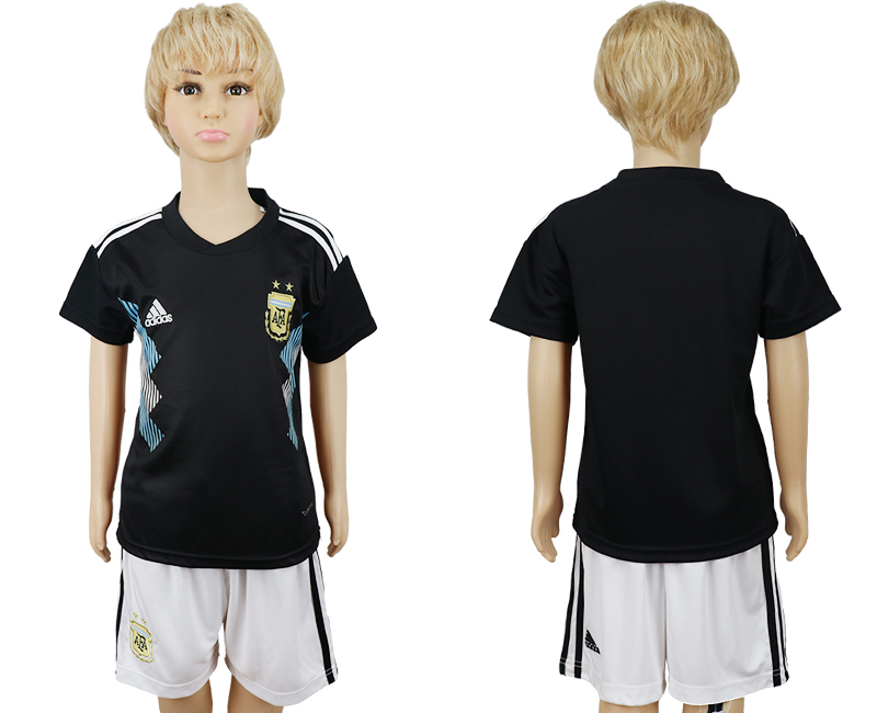 Youth 2018 world cup Argentina away black soccer jerseys