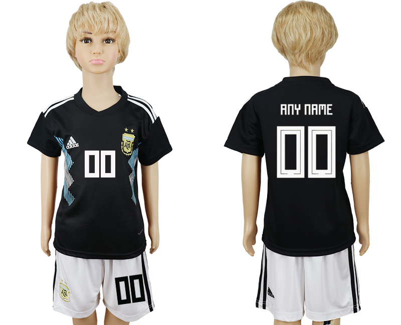 Youth 2018 world cup Argentina away customized black soccer jerseys