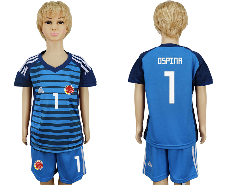 Youth 2018 world cup Colombia Lake blue goalkeeper 1 soccer jersey