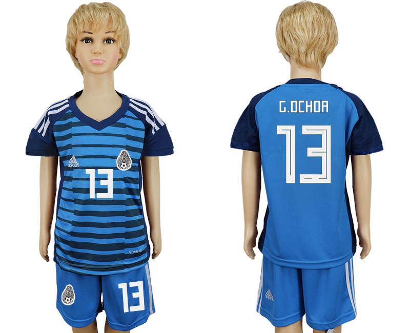 Youth 2018 world cup Mexico Lake blue goalkeeper 13 soccer jersey