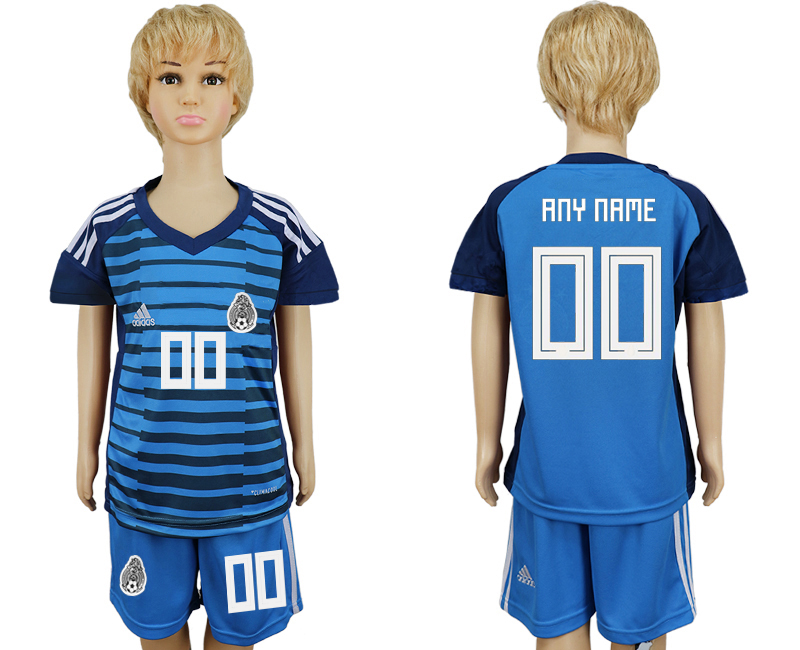 Youth 2018 world cup Mexico Lake blue goalkeeper customized soccer jersey