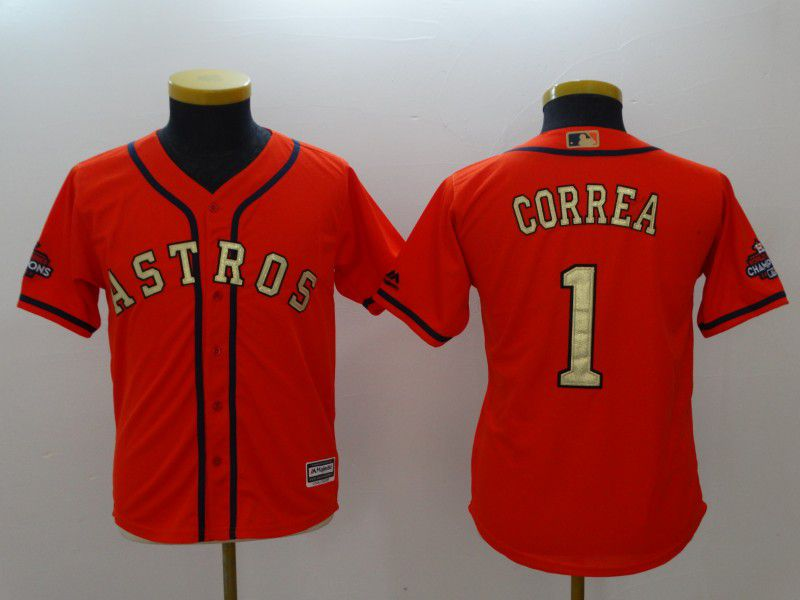 Youth Houston Astros 1 Correa Orange MLB Jerseys