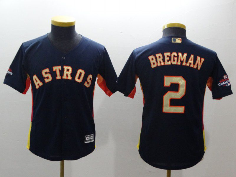 Youth Houston Astros 2 Bregman Blue Champion Edition MLB Jerseys