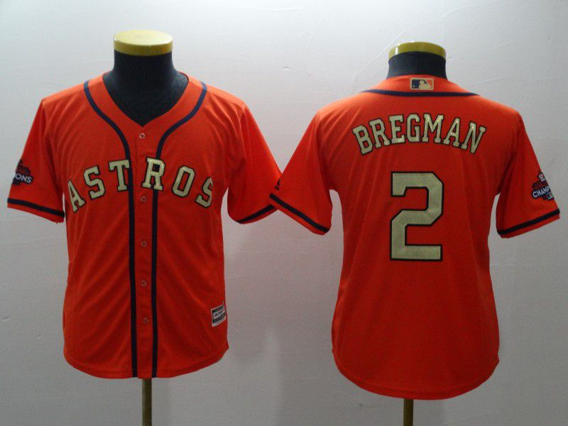 Youth Houston Astros 2 Bregman Orange Champion Edition MLB Jerseys
