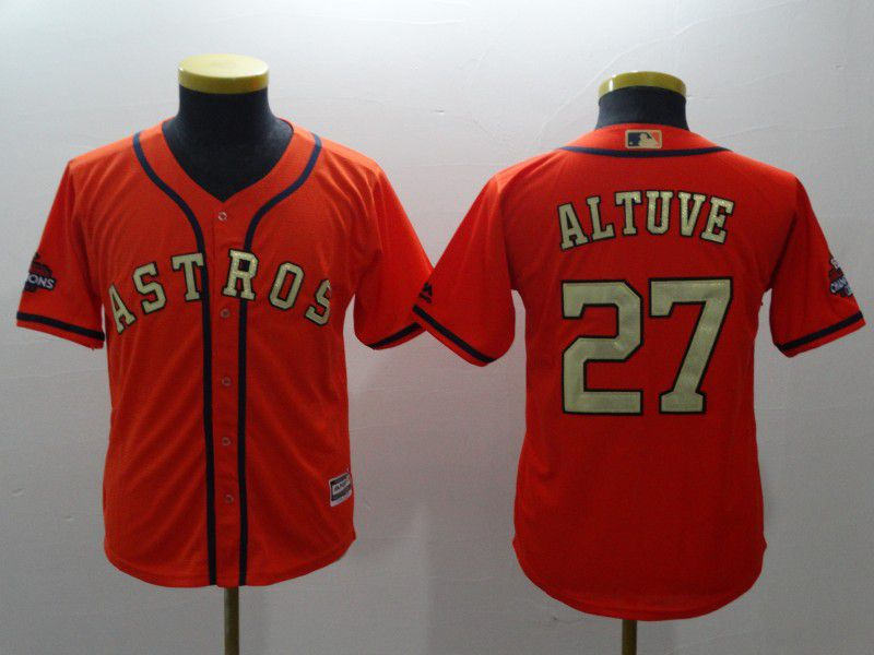 Youth Houston Astros 27 Altuve Orange Champion Edition MLB Jerseys