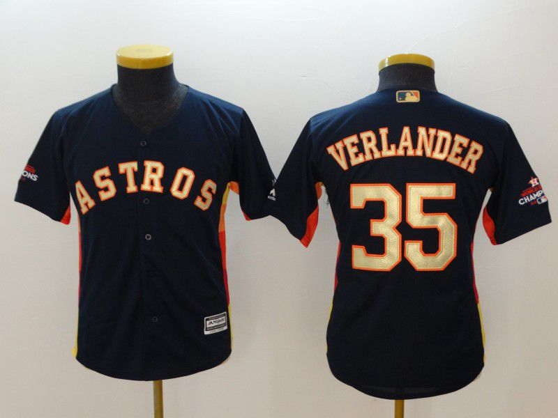 Youth Houston Astros 35 Verlander Blue Champion Edition MLB Jerseys
