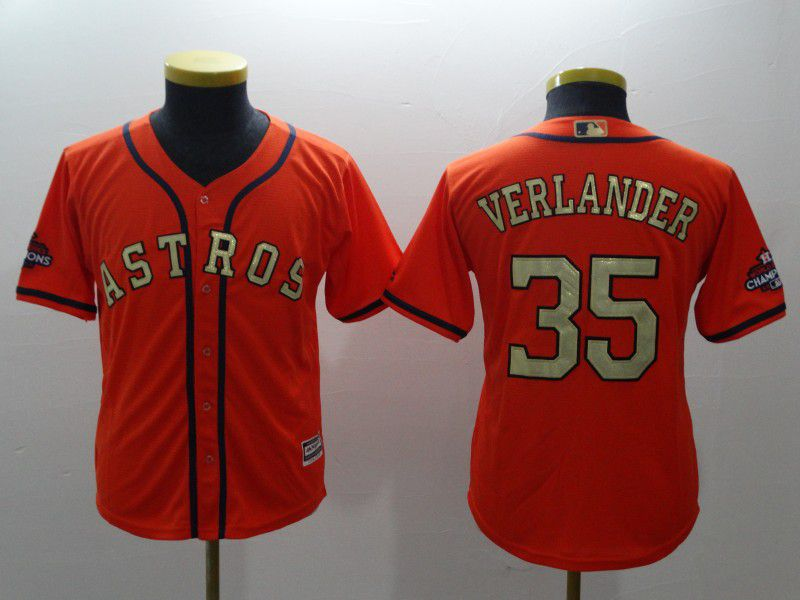 Youth Houston Astros 35 Verlander Orange Champion Edition MLB Jerseys