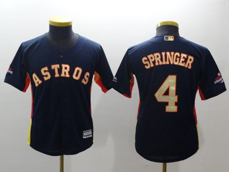 Youth Houston Astros 4 Springer Blue Champion Edition MLB Jerseys