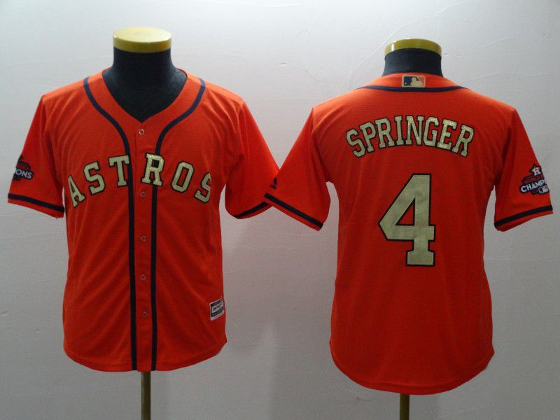 Youth Houston Astros 4 Springer Orange Champion Edition MLB Jerseys