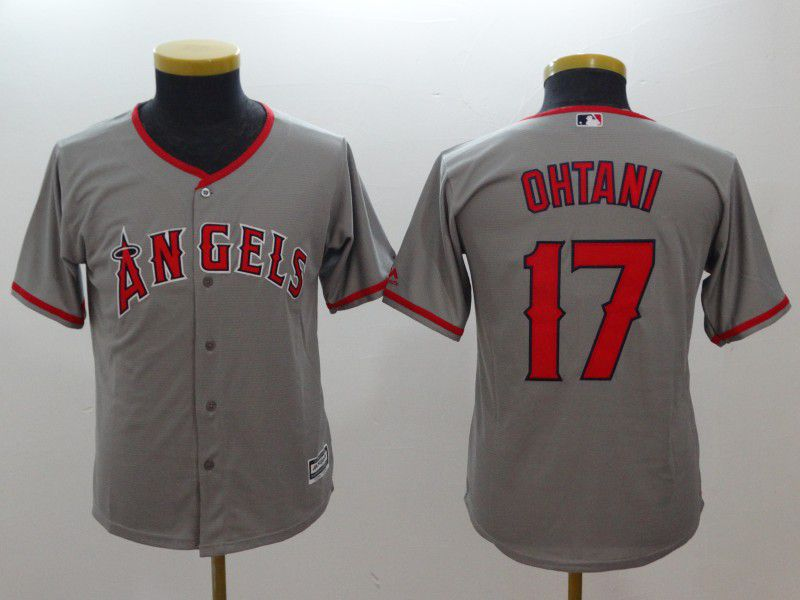 Youth Los Angeles Angels 17 Ohtani Grey MLB Jerseys