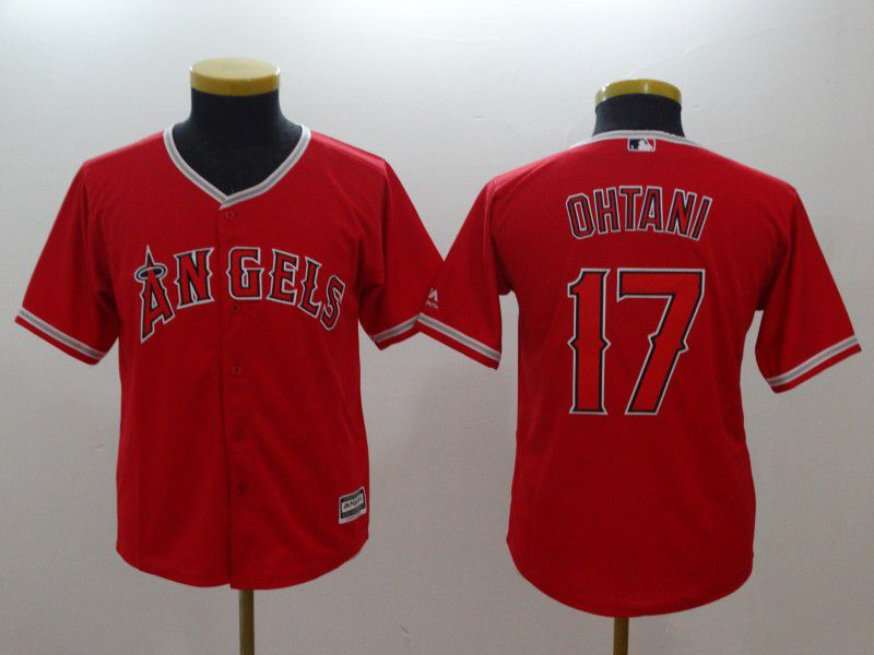 Youth Los Angeles Angels 17 Ohtani Red MLB Jerseys