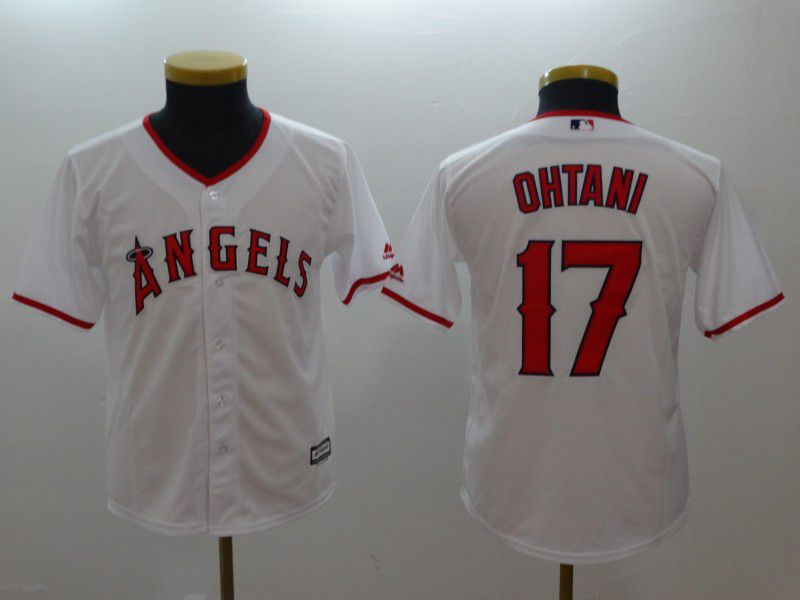 Youth Los Angeles Angels 17 Ohtani White MLB Jerseys