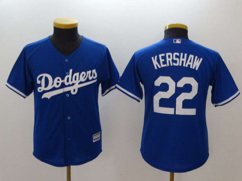 Youth Los Angeles Dodgers 22 Kershaw Blue MLB Jerseys