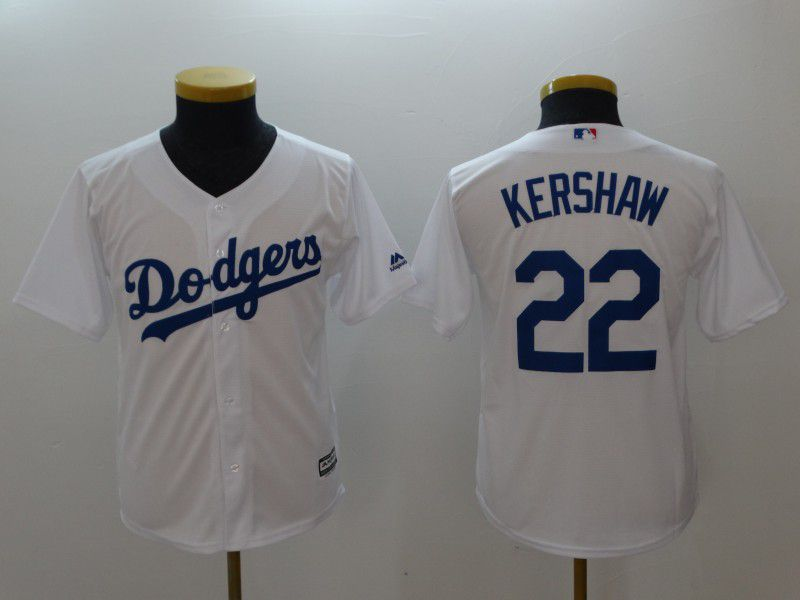 Youth Los Angeles Dodgers 22 Kershaw White MLB Jerseys