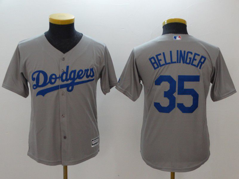 Youth Los Angeles Dodgers 35 Bellinger Grey MLB Jerseys